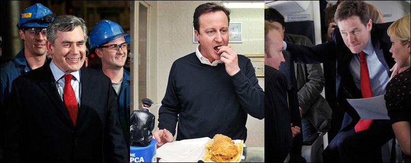 SISTE TIMER: Labours Gordon Brown (fra venstre), De konservatives David Cameron og Liberaldemokratenes Nick Clegg er inne i de siste timene av valgkampen. Et historisk spennende valg skal avgjøres. Foto: Reuters, AP