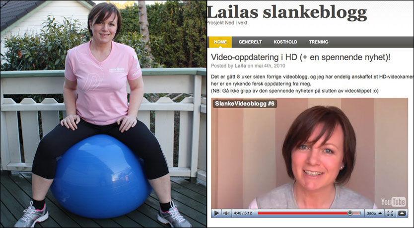 ÅPEN PÅ NETT: Laila Wibe Erland (43) fra Stavanger skriver om sin livsstilsendring på nettet. - Responsen er en kjempeinspirasjon, sier hun. Foto: Privat / skjermdump