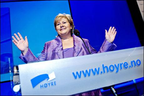 PÅ LANDSMØTE: Erna Solberg har store mål for valget 2011. Foto: Eivind Griffith Brænde (VG).