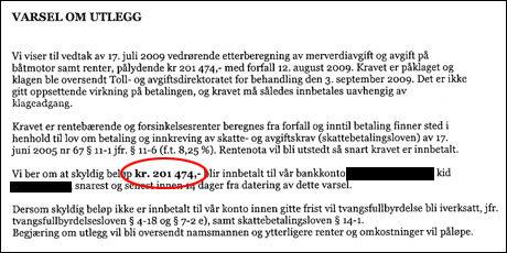 REGNING: Kravet fra norske tollmyndigheter lyder på totalt 201.474 kroner. Foto: FAKSIMILE
