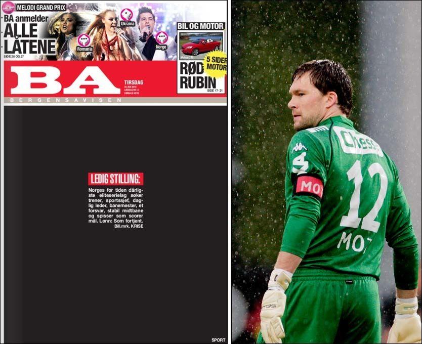 KRISE: BA illustrerer Brann-krisen på følgende måte. Keeper Håkon Opdal scoret selvmål på Hønefoss mandag, og mener det er for enkelt å lage mål på Brann. Foto: BA/Scanpix