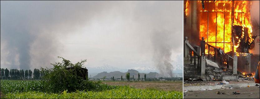 KRAFTIGE OPPTØYER: Deler av Kirgisistans nest største by Osj står i flammer. Foto: AP Photo / Reuters