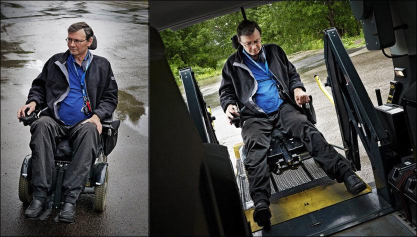 UT ALENE: Johnny Johansen klarer seg fortsatt uten hjemmehjelp. Med rullestol og spesialbygd bil kommer han seg rundt, og er aktivt med i styret til Ammerud håndballklubb. Foto: ESPEN S. HOEN