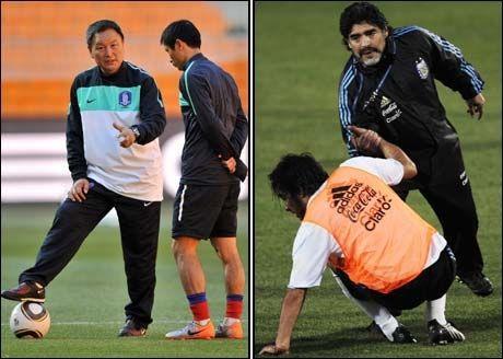 I DAG: 24 år etter at de møttes i VM i 1986, er Jung-Moo Huh og Maradona trenere for hvert sitt landslag. Foto: Scanpix