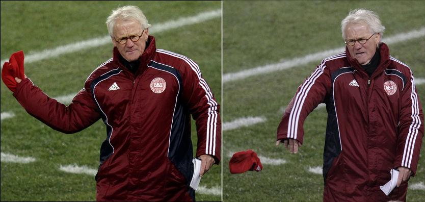 KASTET LUA: Her går Danmarks landslagssjef Morten Olsen av banen etter seieren mot Kamerun. Foto: AP