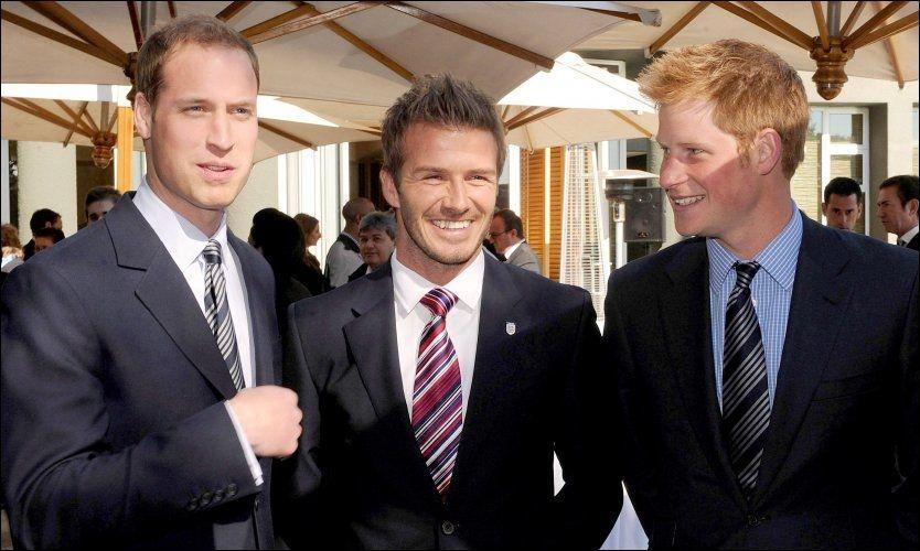 IKKE SKREMT: Prins William, David Beckham og prins Harry. Foto: AP
