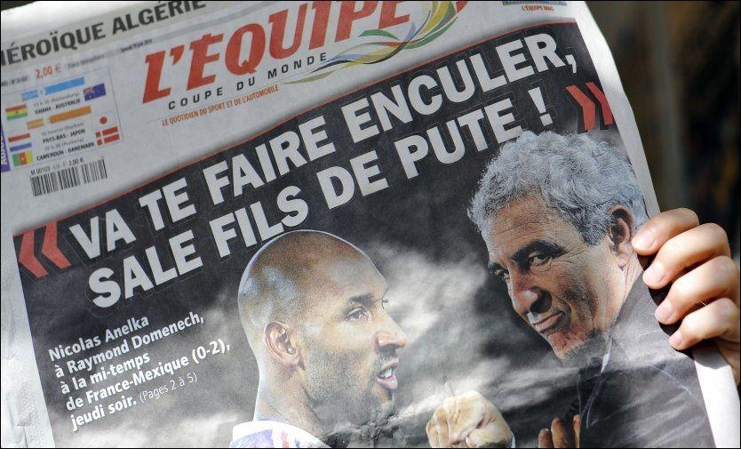 PÅ TRYKK: Nicolas Anelka hevder sitatet L'Equipe trykte i dag, ikke er hans. Foto: AFP