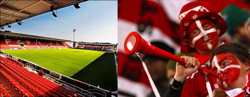 VUVUZELAFRI SONE: På Fredrikstad Stadion kommer man ikke inn med det omstridte instrumentet. Til høyre: en dansk supporter blåser til under kampen mot Kamerun i går kveld. Foto: Simen Grytøyr / Reuters