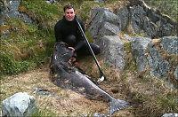 Fanget kjempekveite på 74 kilo - på 12 meters dyp