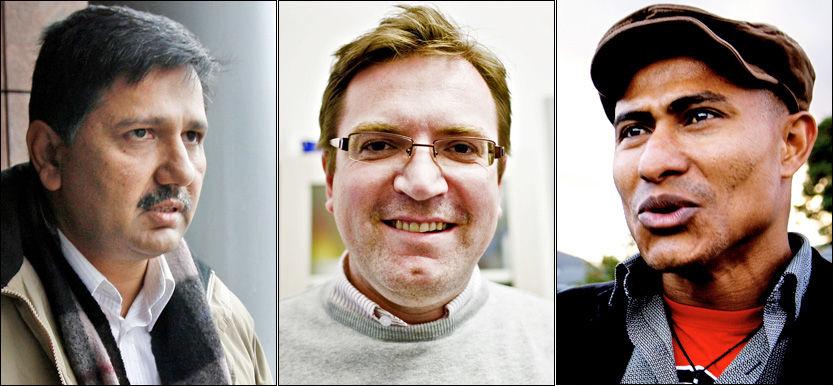 UTHENGT: Ap-politikerne Khalid Mahmood (t.v.), Trond Jensrud og Elvis Nwosu (t.h.) Foto: VG/Scanpix/Aftenposten