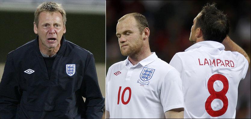 HAR PLANEN KLAR: Wayne Rooney og Frank Lampard er to av de første til å ta straffer for England. De er valgt ut etter nøye kartlegging fra Stuart Pearce (t.v.), som ikke overlater mye til tilfeldighetene. Foto: Reuters