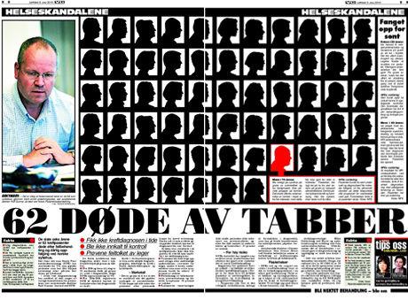 Faksimile: Dagens VG avslører at 62 døde av tabber. Foto:
