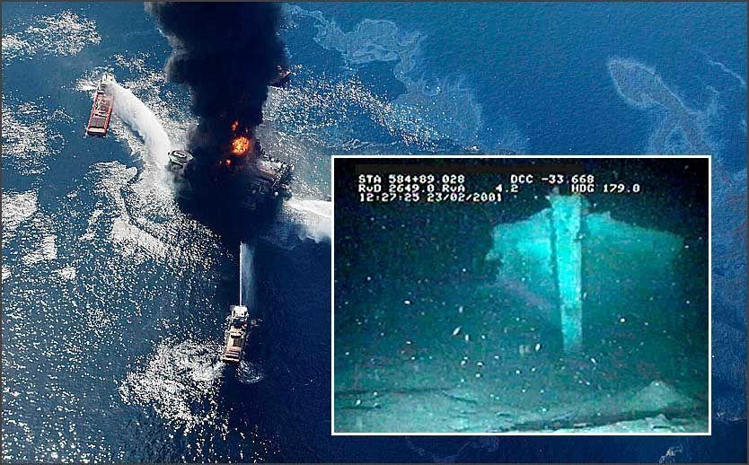 UTBLÅSNING: Da Deepwater Horizon eksploderte i april ble både flora og fauna truet. Men også marinarkeologiske funn på bunnen er truet, dersom oljen synker og stivner over funnstedene. Innfelt: Dette er baugen til skonnerten «Mica». Foto: Scanpix/AP/US Maritime Mineral Service