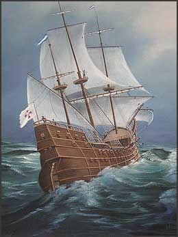 SPANSK GALLION: en av de tidligste skipsvrak som er lokalisert i Mexicogolfen ble oppdaget utenfor Florida i 1992. Marinarkeologer fra University of West Florida har undersøkt vraket. Hypotesen deres er at det dreier seg om et spansk fartøy som deltok I en ekspedisjon i 1559. Skipet på bildet er en spansk gallion, malt i 1733. Kunstner ukjent. Foto: