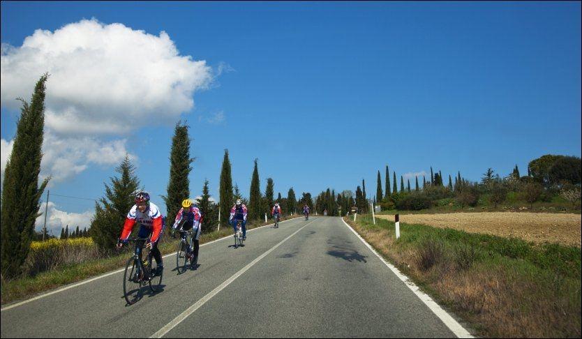 LANDEVEI: I Toscana finner du landeveier gjennom vakkert landskap. Men regn med å dele veien med syklister - italienerne er sykkelgale. Foto: KARIN BEATE NØSTERUD / VG