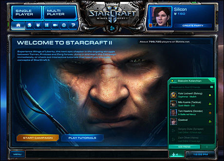 Battle.net-interfacet i Starcraft II. Foto: BLIZZARD
