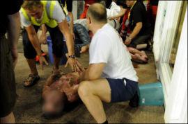 STORE BRANNSKADER: Både finnen og russeren fikk store brannskader etter nærmere sju minutter i den 110 grader varme badstuen. Russeren døde av skadene han pådro seg. Foto: AFP