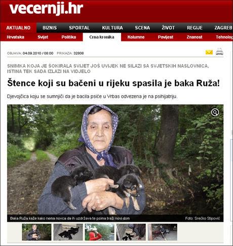 REDNINGSKVINNEN: 75-åringen reddet de fem valpene opp fra bekken og tok de med hjem. Foto: Skjermdump montasje