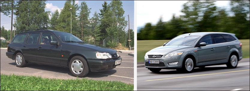 MINDRE BRÅK: Ford Sierra testet i 1990 støyet betraktelig mindre enn etterfølgeren Ford Mondeo gjør i dag. Foto: Thor Fredrik Sundene/Jan Petter Lynau