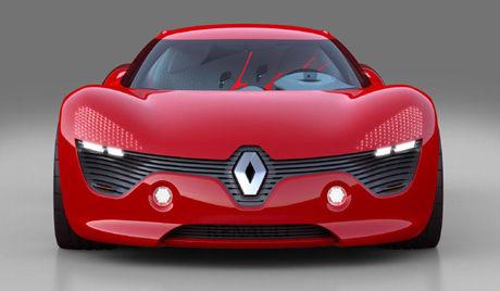 ØYELOKK OG STOR LOGO: Renault har plassert en overdreven logo foran på bilen. Foto: Renault