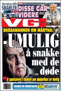 Les mer i dagens papirutgave av VG! Faksimile: VG (14.9.2010)