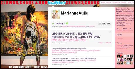 FRIHETSBUDSKAP: «Jeg er kvinne, jeg er fri», er budskapet til Marianne Aulie på Twitter. Foto: Marianne Aulies Twitter-profil