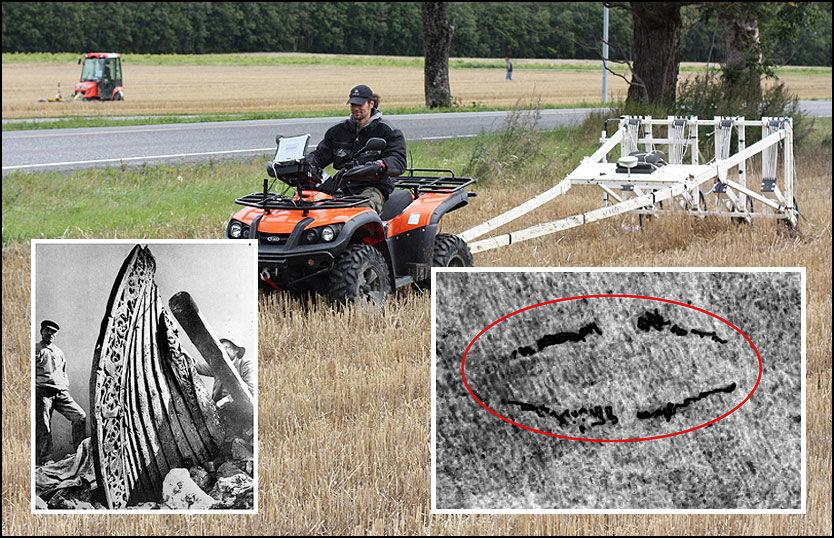 TEKNISK FUNN: Her kjører en av prosjektdeltakerne med et magnetometer bak en ATV på et jorde på Tjøllingvollen i Vestfold. Den kan kjøres i en fart på opp til 70 km/t, og dekker således store områder på kort tid. I bakgrunnen kjører en traktor med georadar på et annet jorde. Innfelt t.v.: Bilde fra utgravningen av Osebergskipet i Vestfold i 1904. Innfelt t.h.: Inne i ovalen er det at arkeologene mener er et avtrykk av et skip, 20 meter langt. De svarte feltene er noe forsterket av VG Nett. Foto: LBI ArchPro/NTB/Scanpix