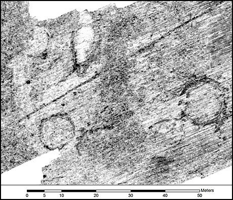 """GRAVER: 20 tidligere ukjente gravhauger er funnet i Vestfold. Dette er et bilde av noen av dem tatt med det siste av teknologisk utstyr for å """"se"""" under bakken. Foto: LBI ArchPro"""