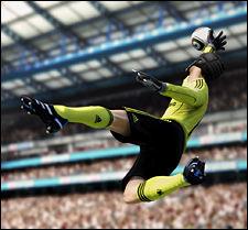 MÅLVAKT: Nytt i «FIFA 11» er muligheten til å ta på seg hansker og hjelm for å spille som målvakt. Foto: EA SPORTS