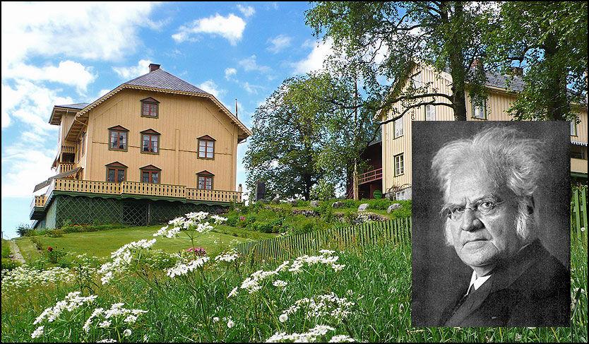 DIKTERGÅRDEN: Aulestad gård ble kjøpt av Bjørnstjerne Bjørnson i 1874. Hovedbygningen på gården er fredet og ble innkjøpt som nasjonaleiendom etter en landsinnsamling i 1922. Den er i dag i bruk som museum og ble lagt til De Sandvigske Samlinger på Lillehammer ved Karoline Bjørnsons død i 1934. Nå mottar de altså en betydelig økning - 700.000 - i bevillinger over statsbudsjettet 2011. Innfelt: Dikterhøvdingen Bjørnstjerne Bjørnson som fikk Nobels litteraturpris i 1903. Foto: Jan Ovind/Scanpix Sweden