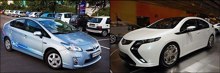 NY KLASSE: Opel Ampera (til høyre), og Toyotas ladbare Prius-modell, Prius Plug-In Hybrid er ladbare hybridbiler, med svært lave CO2-utslipp. Nå får de avgiftsreduksjon. Foto: Frode Hansen/AFP