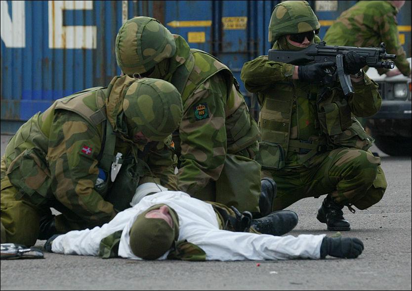 TERRORDEMO: Heimevernets viste terrorbekjempelse under en demonstrasjon i 2004. Til neste år vil flere av Heimevernets soldater bli kalt inn til øvelse Foto: Morten Holm / SCANPIX