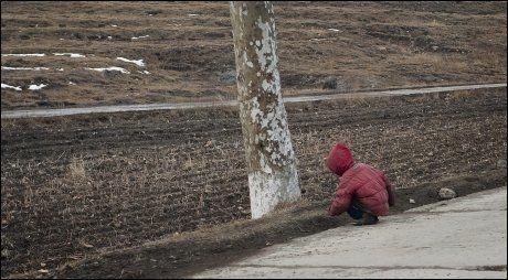 SULTEN: En gutt sitter i veikanten å spiser ting han finner på bakken. Foto: Olav A. Saltbones/Røde Kors