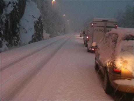 FULL STOPP: Ved Tvedestrand i Aust-Agder er det i kveld lang kø på grunn av snøfallet. Foto: VG Nett-tipser