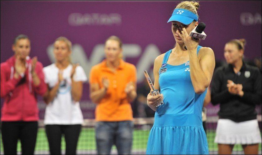OL-MESTER: Russiske Elena Dementjeva er olympisk mester i tennis, men nå er karrieren over for veteranen. Foto: Afp