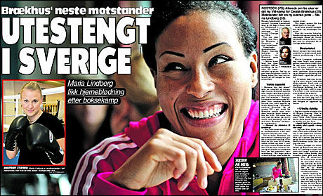 PAPIR-VG I DAG: Cecilia Brækhus ble overrasket da VG fortalte henne om Maria Lindbergs skade. Foto: Faksimile: VG 1. november 2010