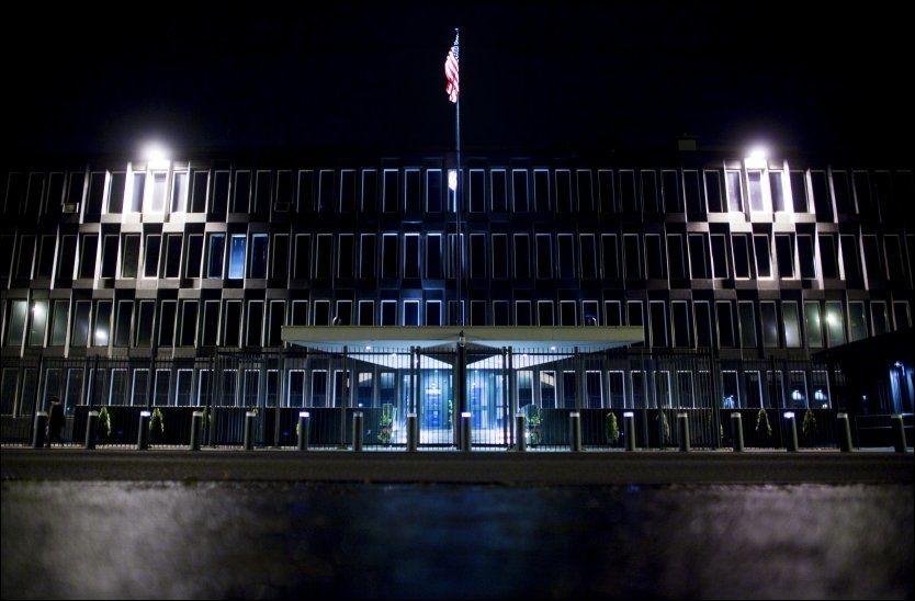 AVSLØRING: TV 2 avslørte onsdag at ansatte ved den amerikanske ambassaden skal ha drevet med systematisk overvåking av nordmenn. Foto: Scanpix