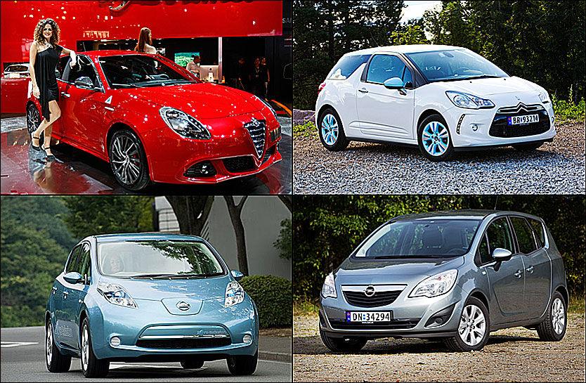 KANDIDATER: Alfa Romeo Giulietta (øverst til venstre), Citroën DS3 (øverst til høyre), Opel Meriva og Nissan Leaf er blant de sju kandiadatene som er i finalen. Foto: AP/Frode Hansen.