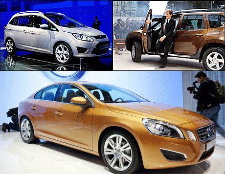 KANDIDATER: Ford Grand C-Max (øverst til venstre), Dacia Duster (øverst til høyre), og Volvo S60/V60 er blant de sju utvalgte. Foto: Andrea Gjestvang/AP/Volvo.