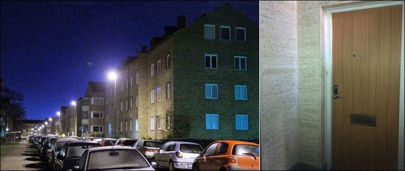 PÅGREPET HER: Bak denne døren bor 38-åringen som er pågrepet mistenkt for å stå bak et drap og syv drapsforsøk i Malmö det siste året. Selv nekter han straffskyld. Foto: Patrik Persson/Tanja Irén Berg