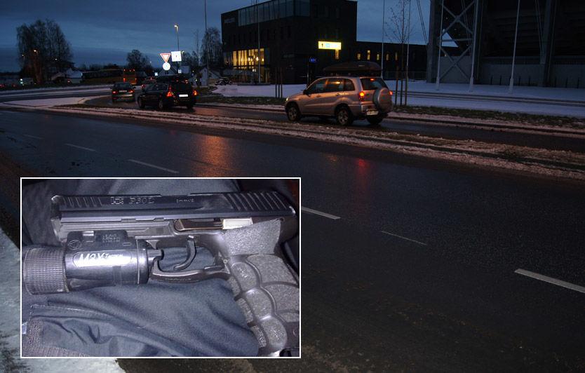 MIDT I GATA: Her, i sentrum av Hamar, ble pistolen tilhørende politiet funnet. Foto: VG Nett-tipser.