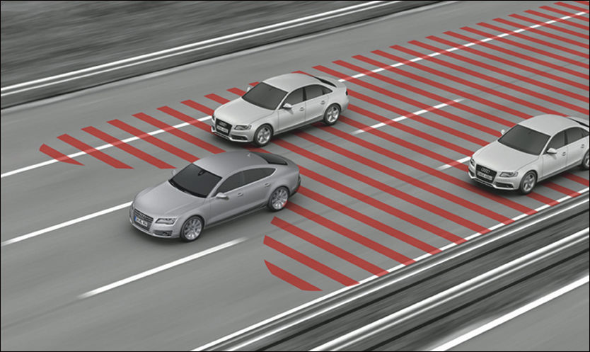 STØTTE: Audis blindsonesystem hjelper føreren med å skifte fil sikkert. Foto: Produsenten