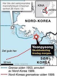 Her hagler granatene over Yeonpyeong