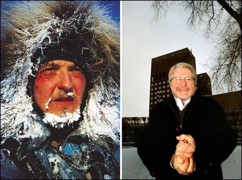 IKKE REDDE FOR KULDA: - Det er stor forskjell på kulde og det å fryse, sier erfaren eventyrer og polfarer Rune Gjeldnes (t.v), som har vært på flere kalde ekspedisjoner blant annet fra Sibir til Canada i år 2000. Ordfører i Oslo, Fabian Stang (t.h) mener vinteren er en fin tid dersom man tar på seg nok klær. Bildet av Stang er fra januar. Foto: SEAL ADVENTURE/SCANPIX/ BØRRE HAUGSTAD/VG/