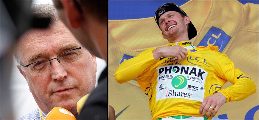 I TOTTENE PÅ HVERANDRE: Forsøker UCI-president Pat McQuaid å skjule dopingprøver? - Ja, sier Floyd Landis. - Nei, sier iren selv. Foto: AP