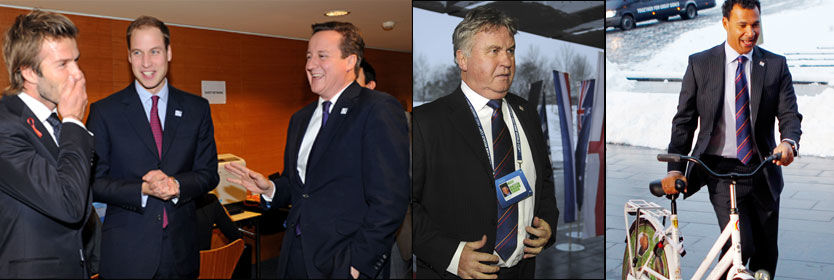LATTER OG GLEDE: Storbritannias statsminister David Cameron drar på smilebåndet av en Beckham-vits, mens prins William synes den bare er sånn passe morsom. Guus Hiddink ankom også FIFAs lokaler i Zürich, sammen med Ruud Gullit som kom trillende på en sykkel. Foto: AFP