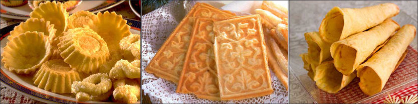 Sandkaker, goro og krumkaker er tradisjonsrike julekaker. Foto: Opplysningskontoret for brød og korn