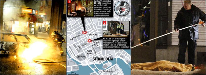 EKSPLOSJON: 28-åringens Audi eksploderte ti minutter før bombemannen sprengte seg selv i luften. Foto: Per-Olof Sännås/Aftonbladet/Tom Byermoen/Scanpix