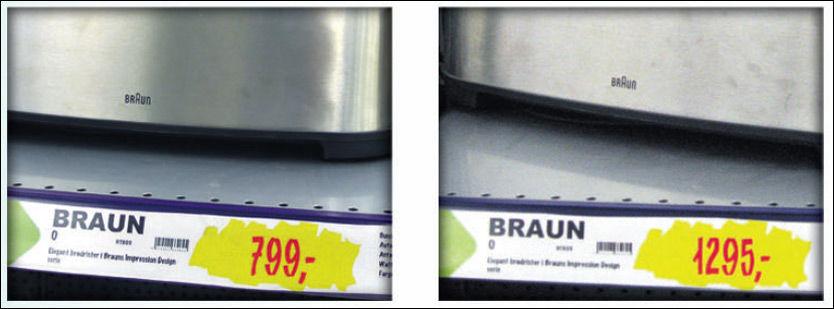 OPP I PRIS: Denne brødristeren fra Braun gikk nesten 500 kroner opp i pris hos Elkjøp. Foto: VG