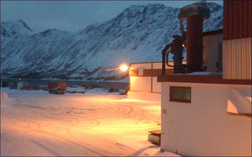 FUNNSTEDET: Her, utenfor fryseriet i Gryllefjord, ble bilen med den drepte kvinnen funnet. Foto: Rune Rene Kristiansen/Folkebladet